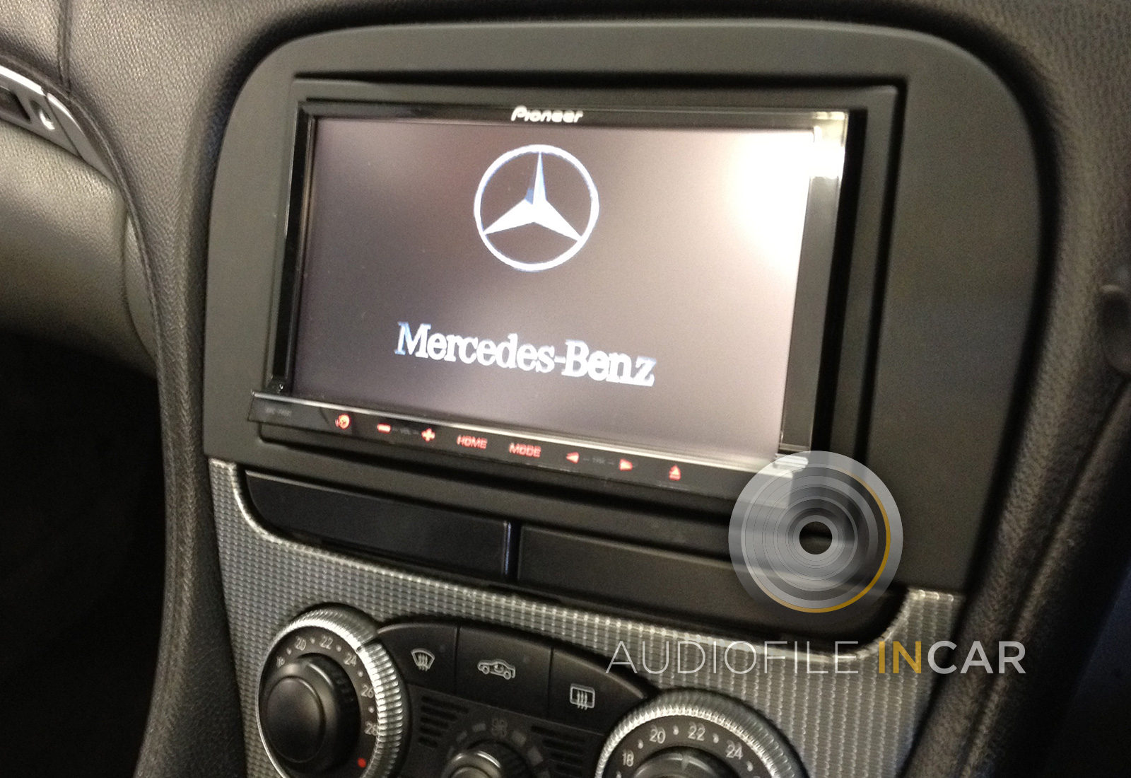 The Pioneer Avic-F40 fitted to Mercedes SL, fully fitted with steering control compatibility from £1499 inc VAT.